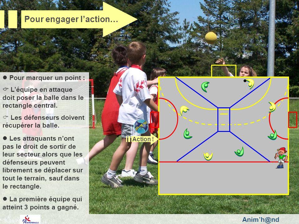 Animh@nd Pour marquer un point : Léquipe en attaque doit poser la balle dans le rectangle central.