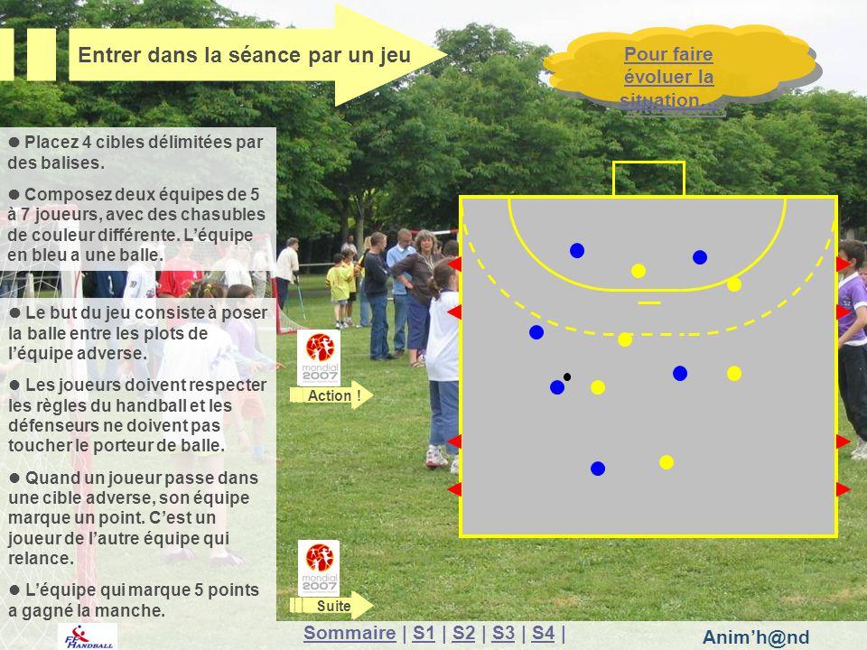 Animh@nd Le but du jeu consiste à poser la balle entre les plots de léquipe adverse. Les joueurs doivent respecter les règles du handball et les défen