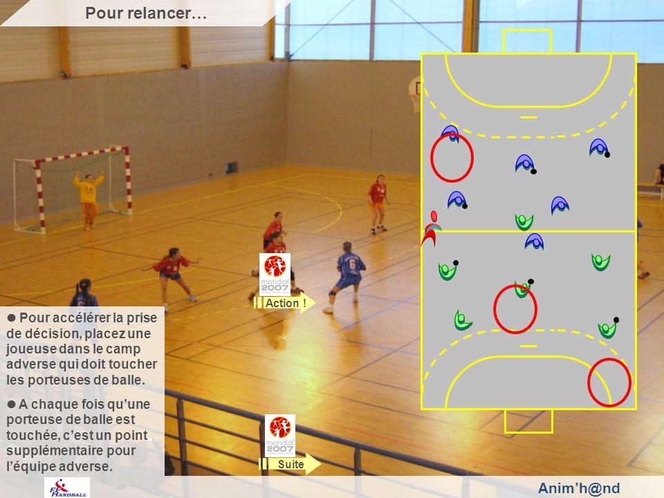 Animh@nd Pour accélérer la prise de décision, placez une joueuse dans le camp adverse qui doit toucher les porteuses de balle.