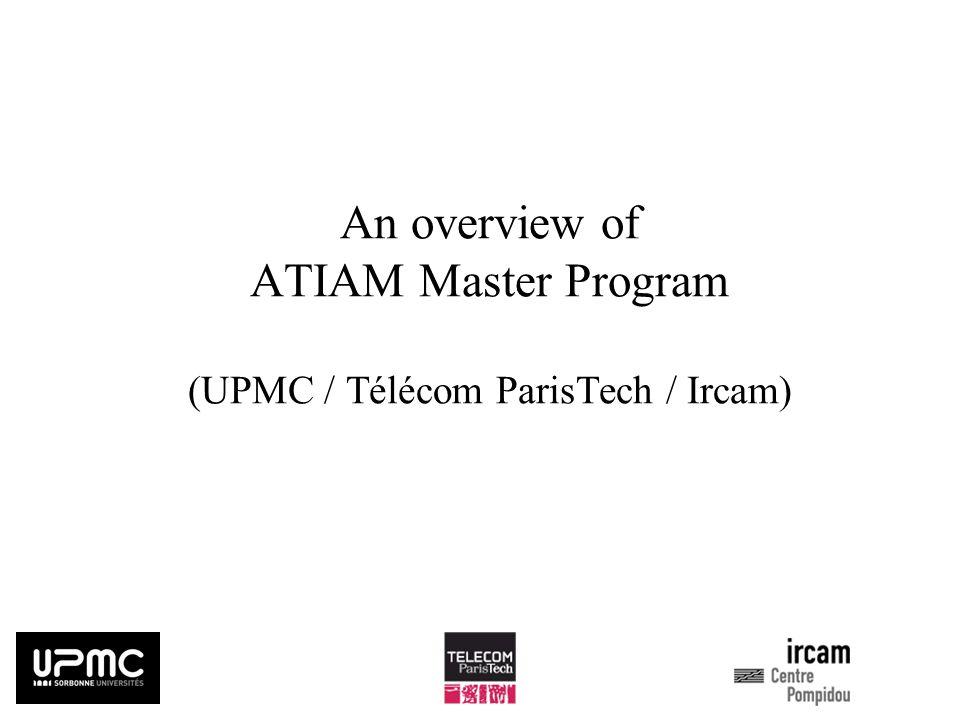 ATIAMs Global Structure List of obligatory Teaching Units during the first round (première vague) (S3, 3 ECTS/TU) AG : Acoustique Générale (Resp.