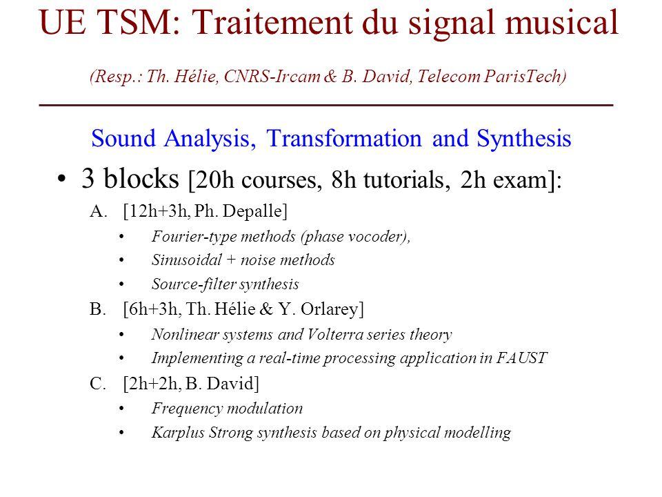 UE TSM: Traitement du signal musical (Resp.: Th. Hélie, CNRS-Ircam & B. David, Telecom ParisTech) Sound Analysis, Transformation and Synthesis 3 block