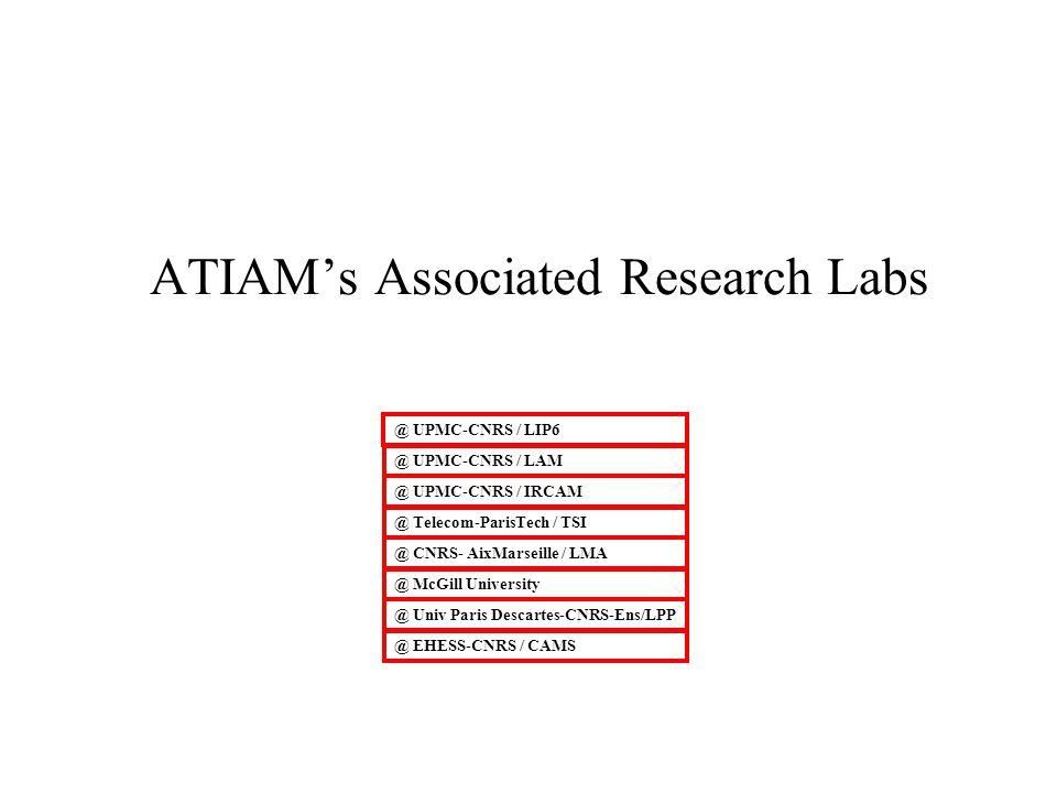 ATIAMs Associated Research Labs @ UPMC-CNRS / LIP6 @ UPMC-CNRS / IRCAM @ UPMC-CNRS / LAM @ Telecom-ParisTech / TSI @ CNRS- AixMarseille / LMA @ McGill