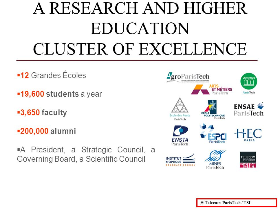 12 Grandes Écoles 19,600 students a year 3,650 faculty 200,000 alumni A President, a Strategic Council, a Governing Board, a Scientific Council A RESEARCH AND HIGHER EDUCATION CLUSTER OF EXCELLENCE @ Telecom-ParisTech / TSI