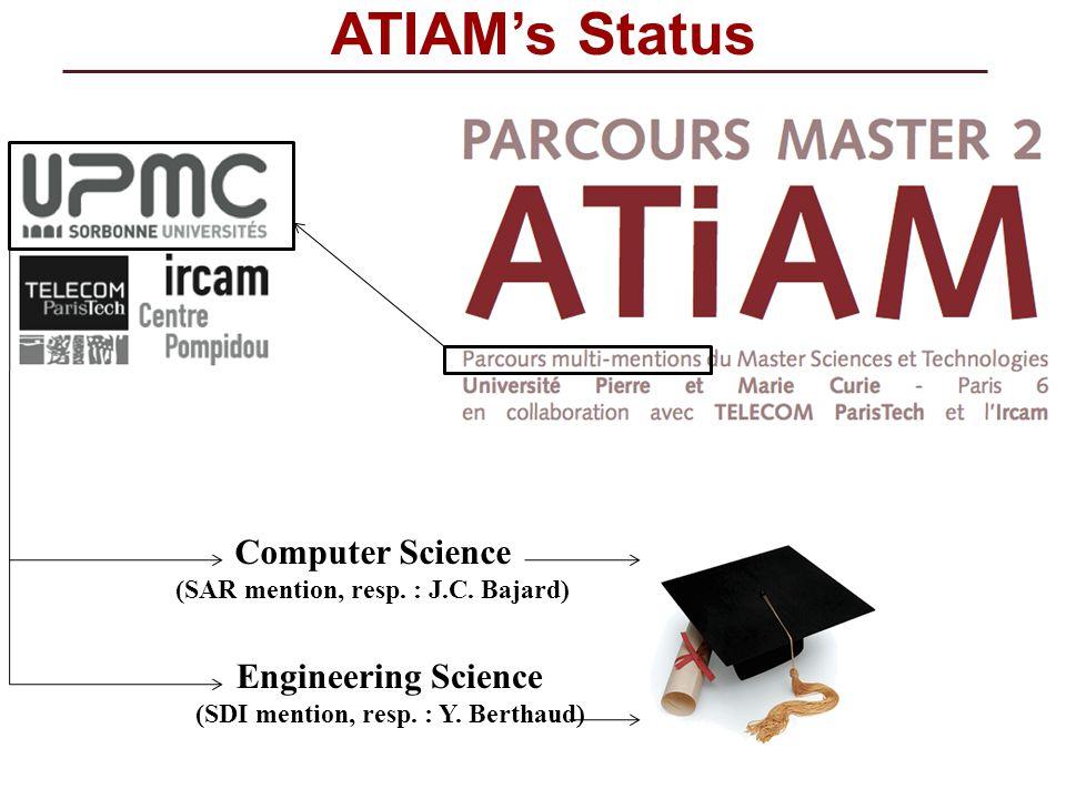 ATIAMs Status Computer Science (SAR mention, resp. : J.C. Bajard) Engineering Science (SDI mention, resp. : Y. Berthaud)