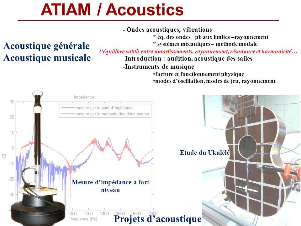 ATIAM / Acoustics Acoustique générale Acoustique musicale - Ondes acoustiques, vibrations * eq. des ondes - pb aux limites –rayonnement * systèmes méc