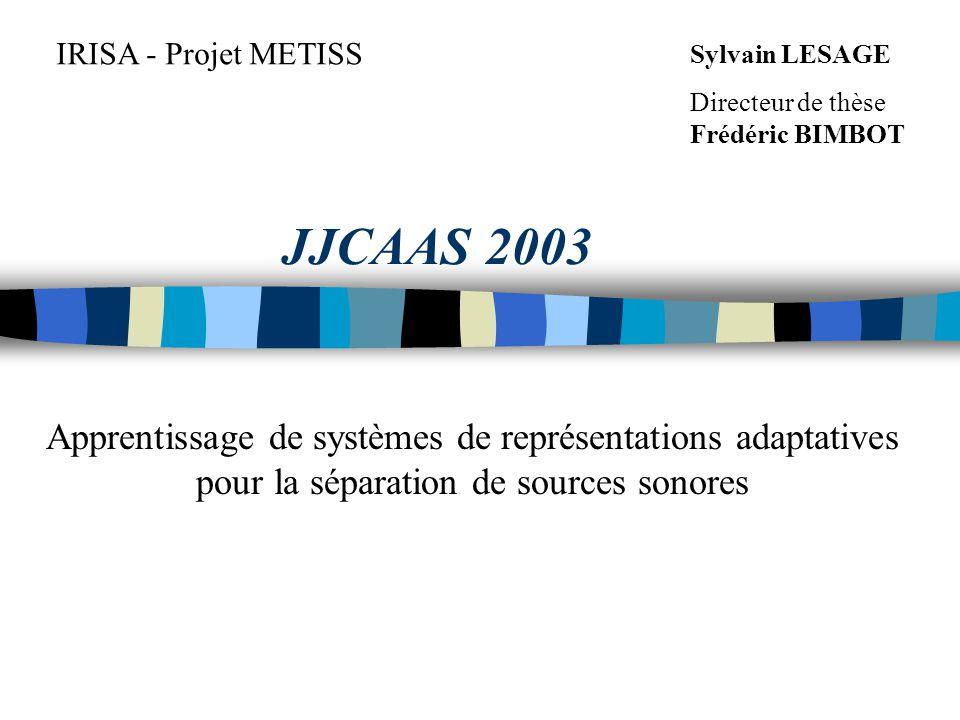JJCAAS 2003 IRISA - Projet METISS Sylvain LESAGE Directeur de thèse Frédéric BIMBOT Apprentissage de systèmes de représentations adaptatives pour la séparation de sources sonores