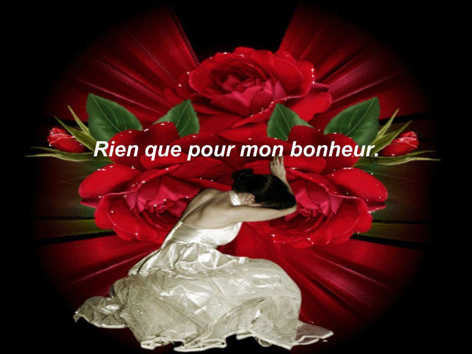 Trois roses offertes avec le cœur