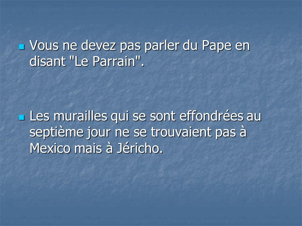 Vous ne devez pas parler du Pape en disant Le Parrain .