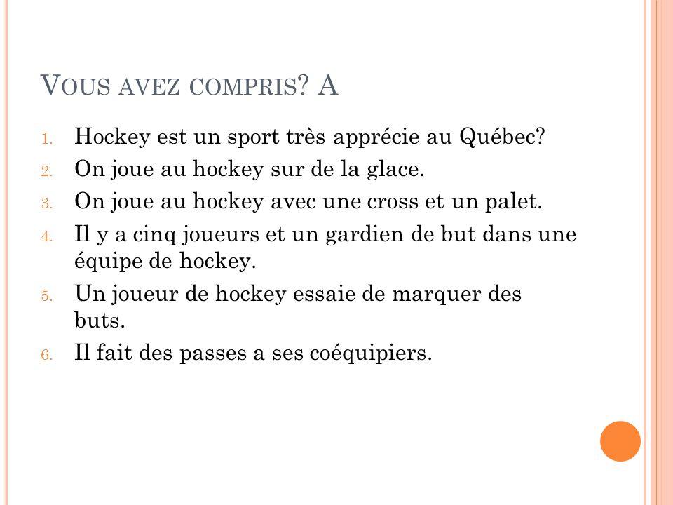 V OUS AVEZ COMPRIS . A 1. Hockey est un sport très apprécie au Québec.