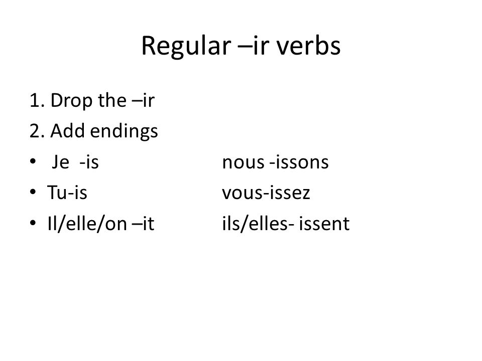 Regular –ir verbs 1. Drop the –ir 2.
