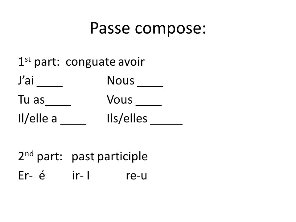Passe compose: 1 st part: conguate avoir Jai ____Nous ____ Tu as____Vous ____ Il/elle a ____Ils/elles _____ 2 nd part: past participle Er- é ir- I re-u