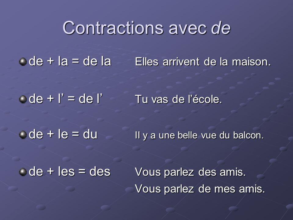 Contractions avec de de + la = de la Elles arrivent de la maison.