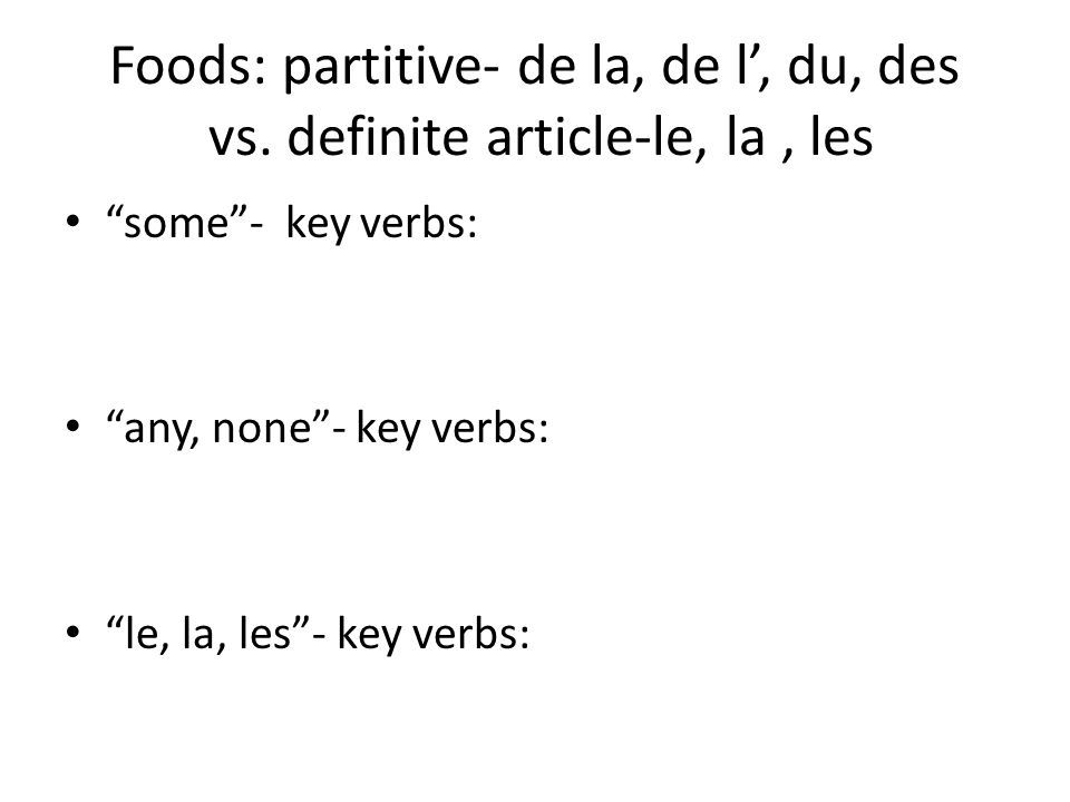 Foods: partitive- de la, de l, du, des vs.