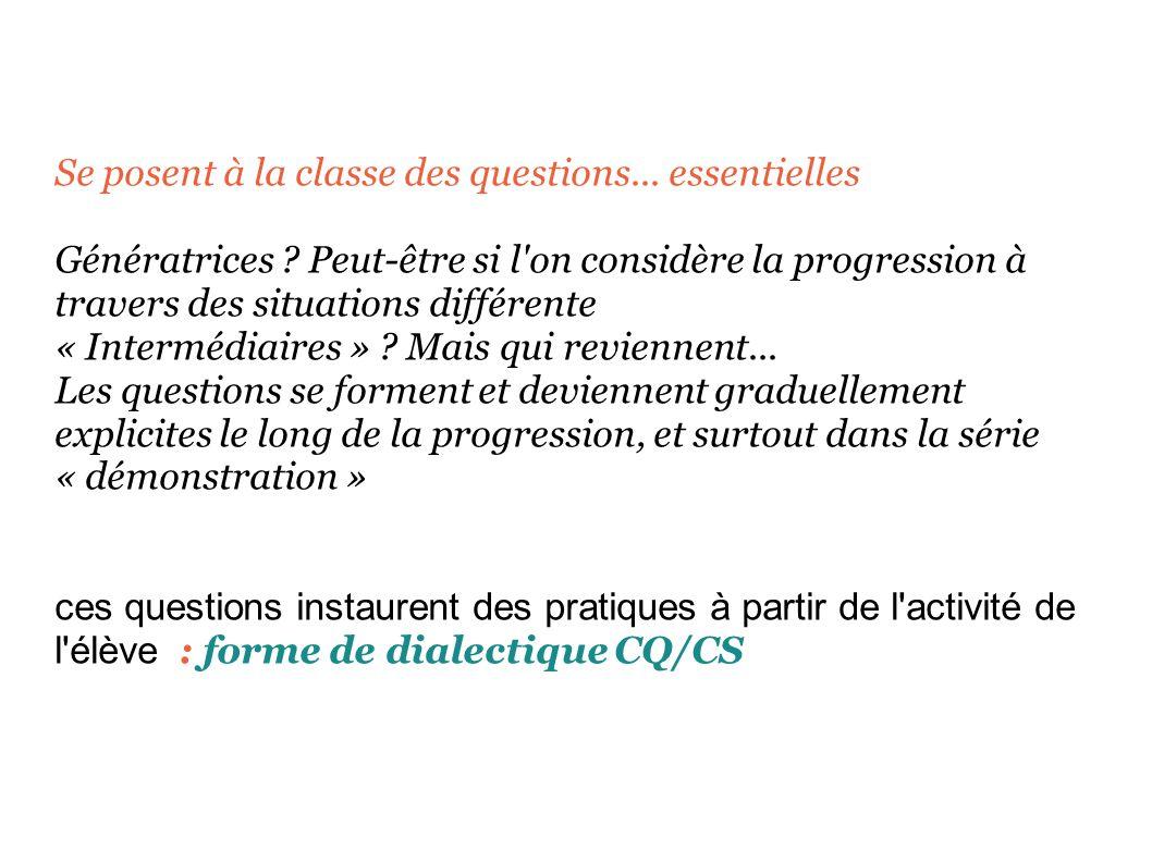 Se posent à la classe des questions... essentielles Génératrices .