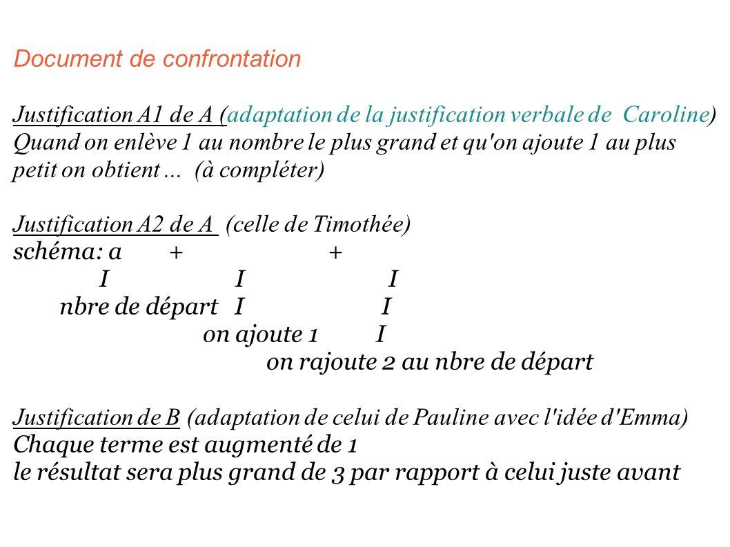 Document de confrontation Justification A1 de A (adaptation de la justification verbale de Caroline) Quand on enlève 1 au nombre le plus grand et qu'o