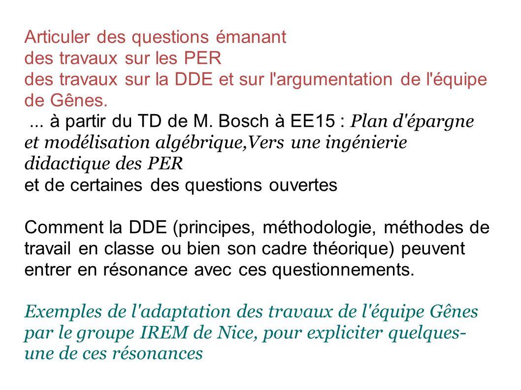 Articuler des questions émanant des travaux sur les PER des travaux sur la DDE et sur l argumentation de l équipe de Gênes....