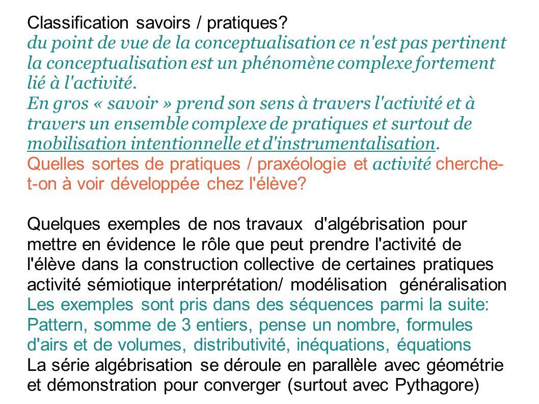 Classification savoirs / pratiques.