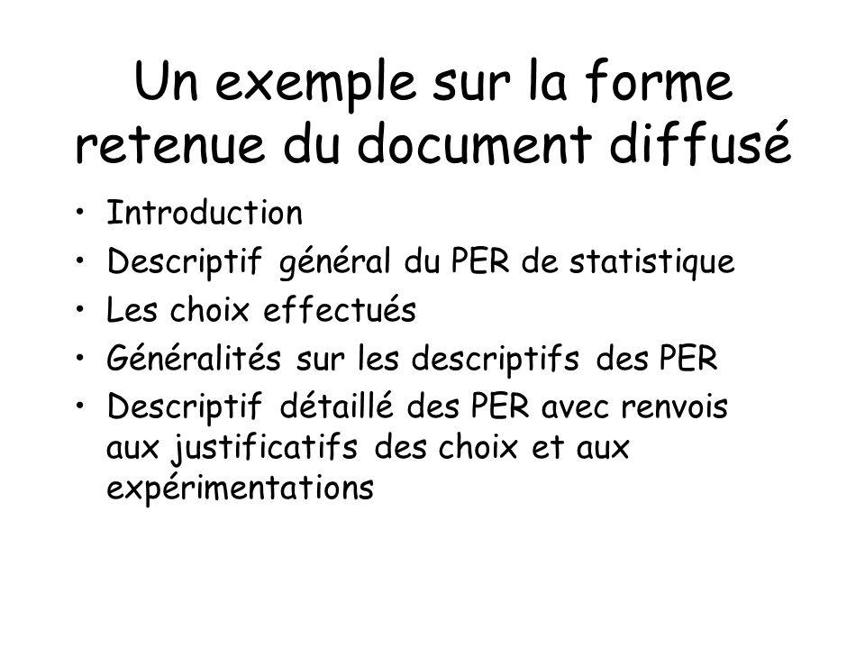 Un exemple sur la forme retenue du document diffusé Introduction Descriptif général du PER de statistique Les choix effectués Généralités sur les desc