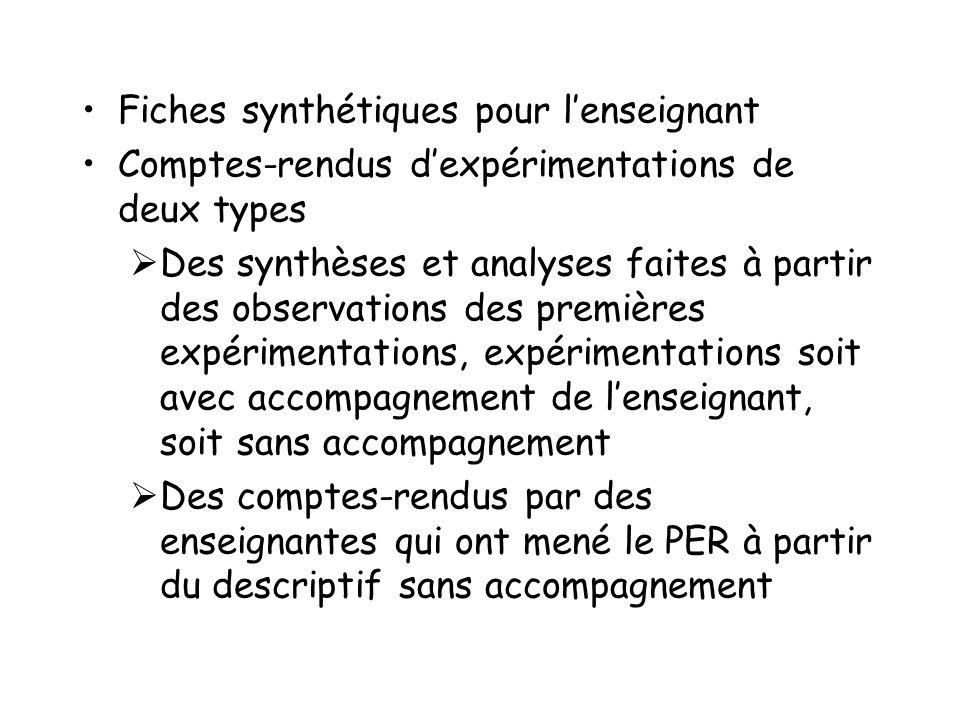 Fiches synthétiques pour lenseignant Comptes-rendus dexpérimentations de deux types Des synthèses et analyses faites à partir des observations des pre