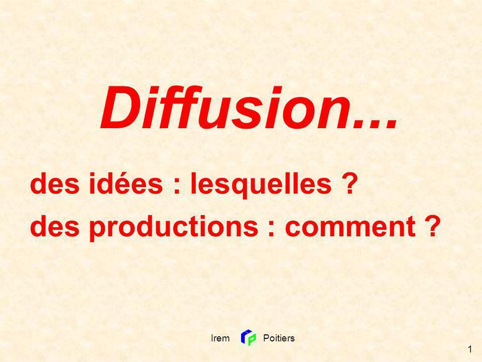 Irem Poitiers 1 Diffusion... des idées : lesquelles ? des productions : comment ?