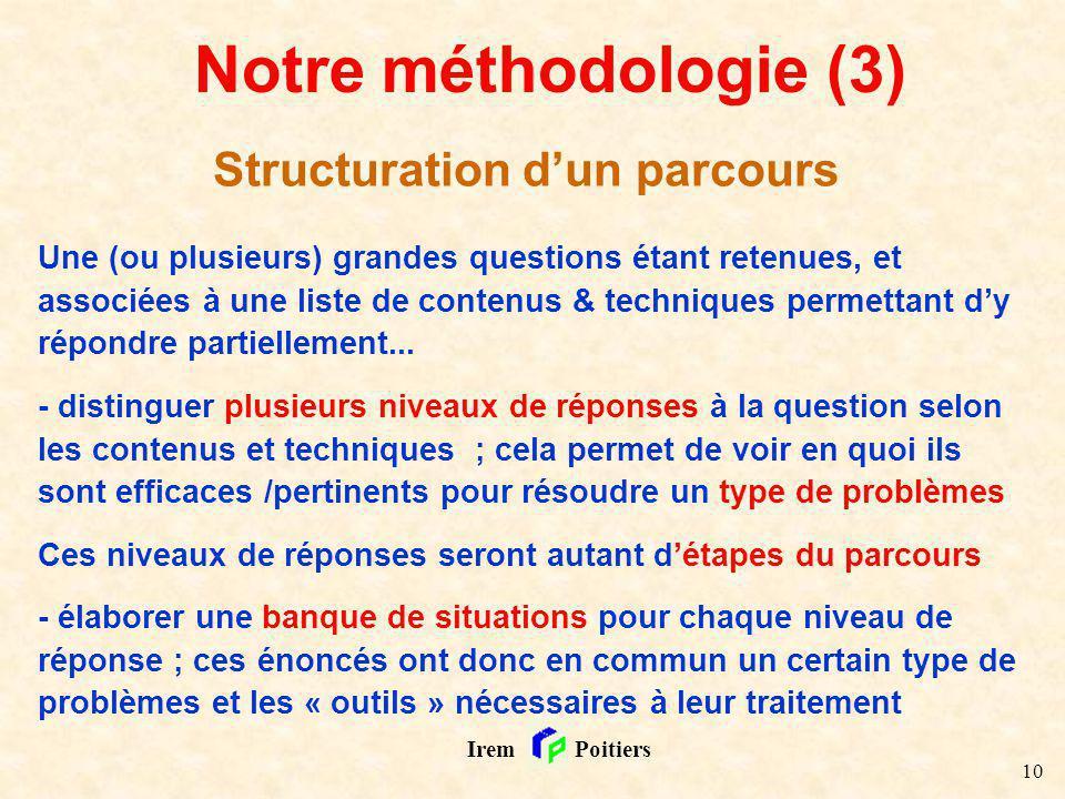 10 Irem Poitiers Notre méthodologie (3) Structuration dun parcours Une (ou plusieurs) grandes questions étant retenues, et associées à une liste de co