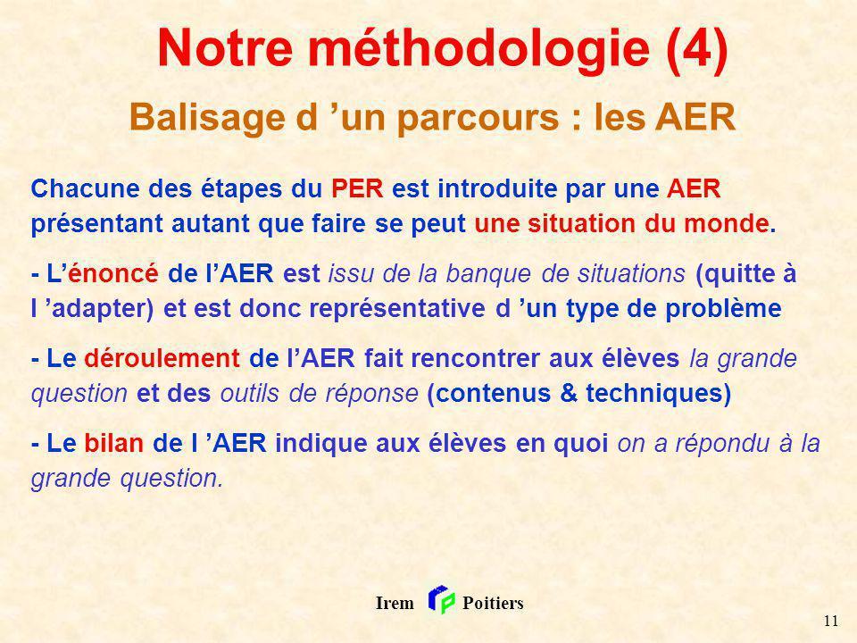 11 Irem Poitiers Notre méthodologie (4) Balisage d un parcours : les AER Chacune des étapes du PER est introduite par une AER présentant autant que fa