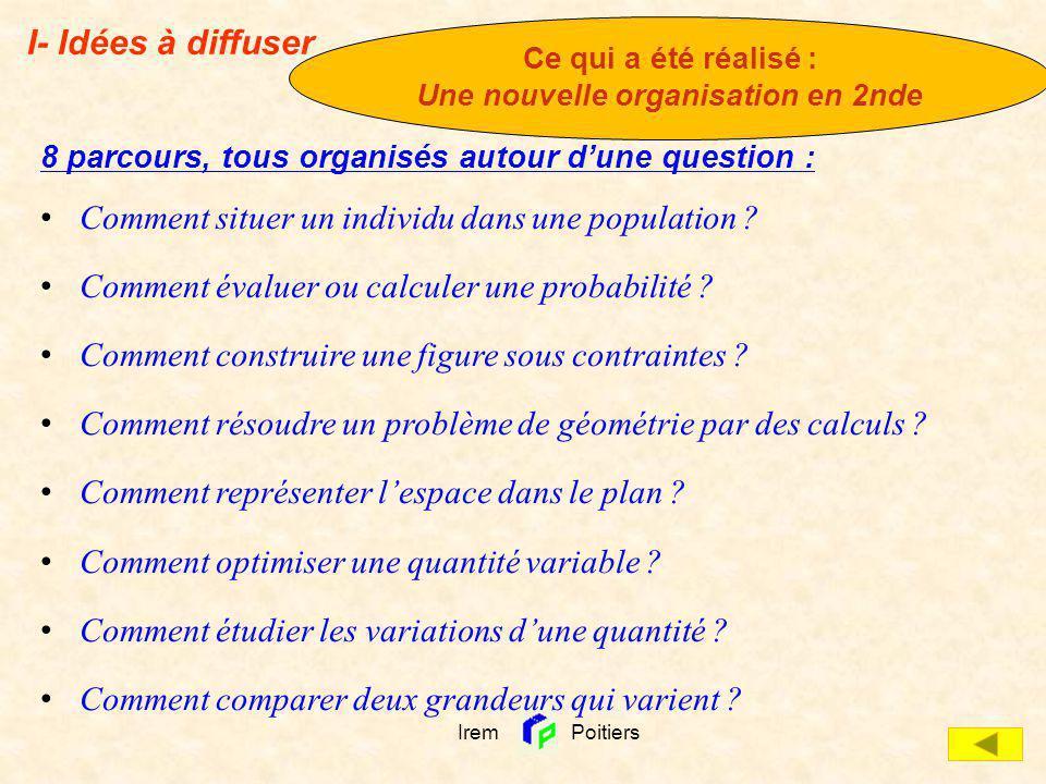 8 parcours, tous organisés autour dune question : Comment situer un individu dans une population ? Comment évaluer ou calculer une probabilité ? Comme