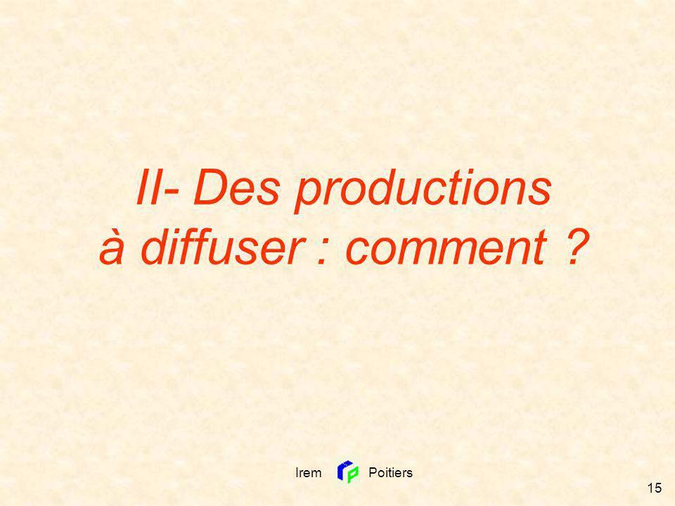 Irem Poitiers 15 II- Des productions à diffuser : comment ?