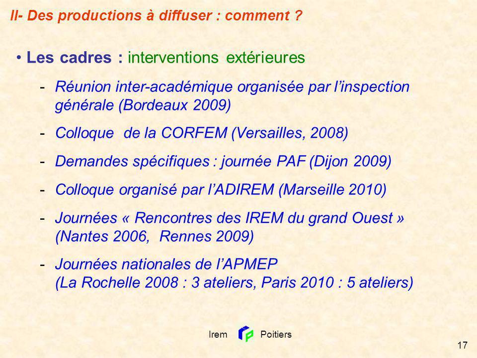 Irem Poitiers 17 Les cadres : interventions extérieures -Réunion inter-académique organisée par linspection générale (Bordeaux 2009) -Colloque de la C