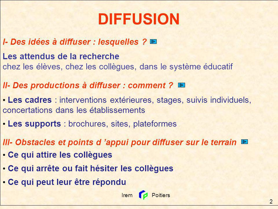 Irem Poitiers 2 DIFFUSION I- Des idées à diffuser : lesquelles ? Les attendus de la recherche chez les élèves, chez les collègues, dans le système édu