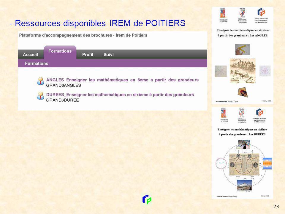 - Ressources disponibles IREM de POITIERS 23