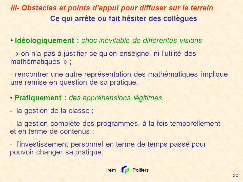 Irem Poitiers 30 III- Obstacles et points dappui pour diffuser sur le terrain Ce qui arrête ou fait hésiter des collègues Idéologiquement : choc inévi