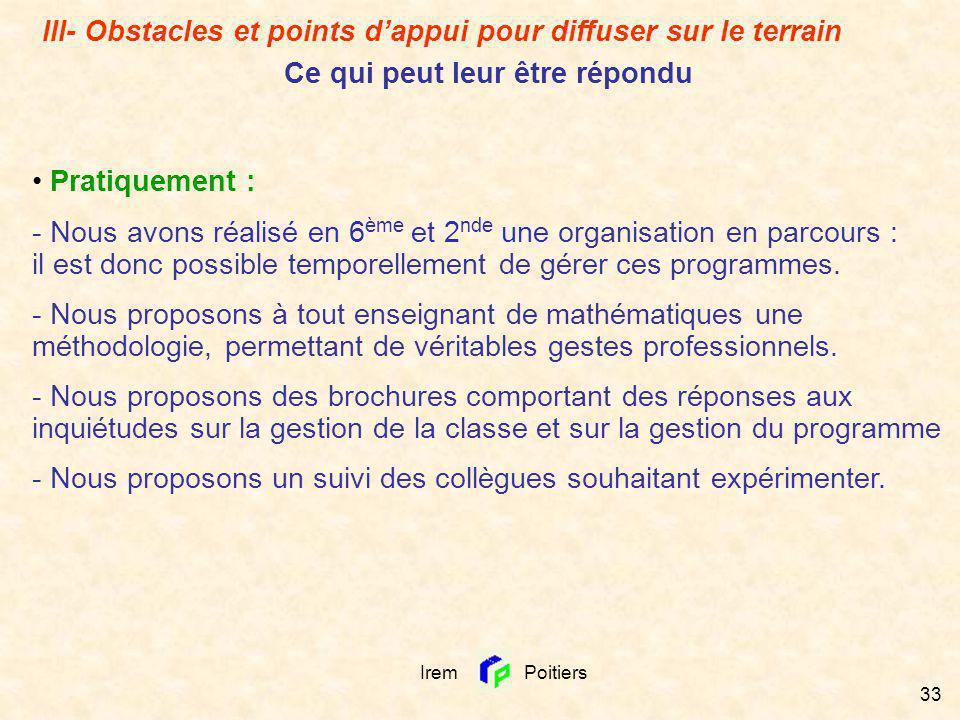 Irem Poitiers 33 III- Obstacles et points dappui pour diffuser sur le terrain Ce qui peut leur être répondu Pratiquement : - Nous avons réalisé en 6 è