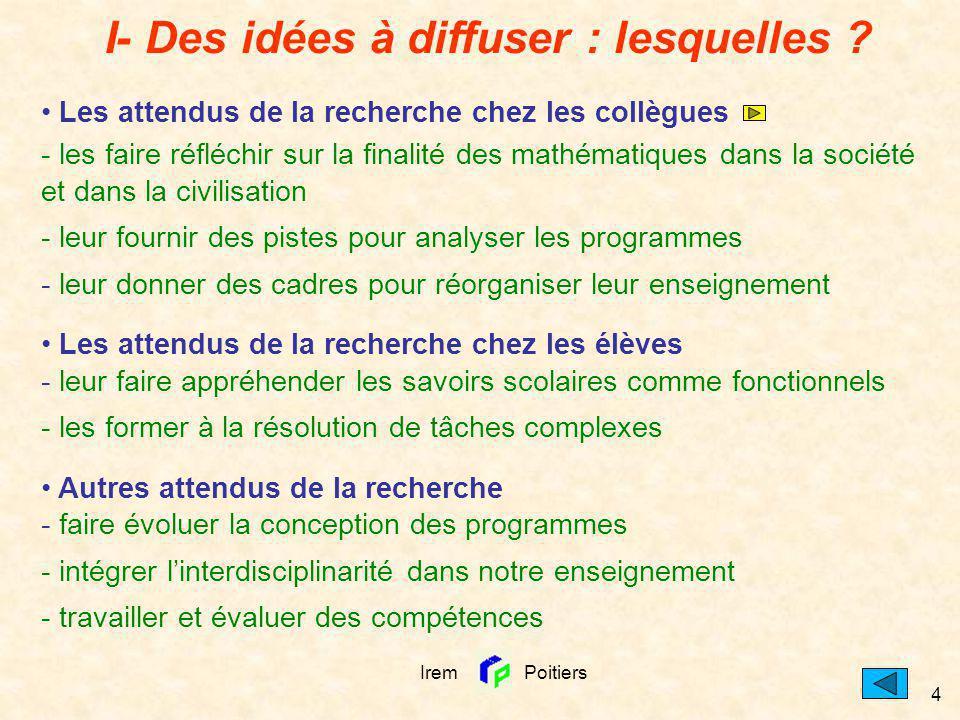Irem Poitiers 4 I- Des idées à diffuser : lesquelles ? Les attendus de la recherche chez les collègues - les faire réfléchir sur la finalité des mathé