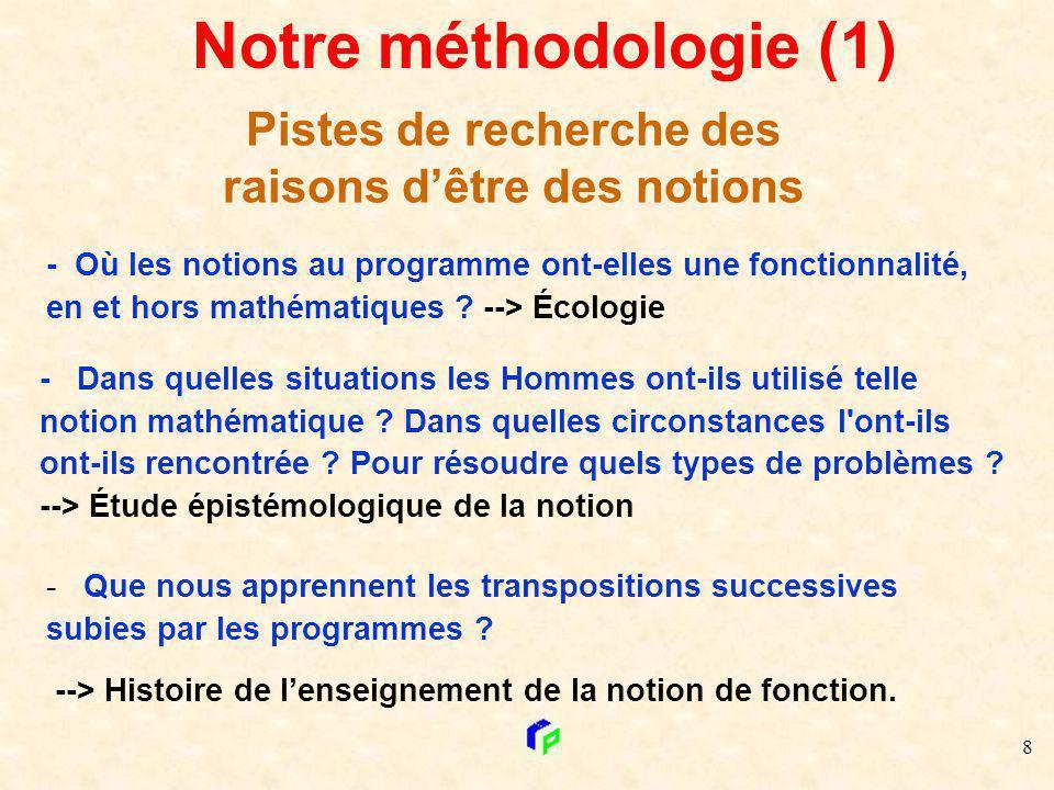 8 Irem Poitiers Notre méthodologie (1) Pistes de recherche des raisons dêtre des notions - Dans quelles situations les Hommes ont-ils utilisé telle no