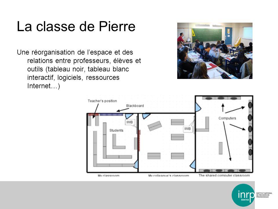 La classe de Pierre Une réorganisation de lespace et des relations entre professeurs, élèves et outils (tableau noir, tableau blanc interactif, logiciels, ressources Internet…)