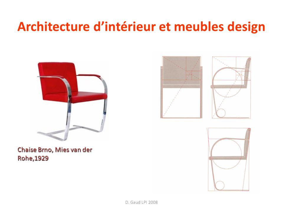 D. Gaud LPI 2008 Architecture dintérieur et meubles design Chaise Brno, Mies van der Rohe,1929