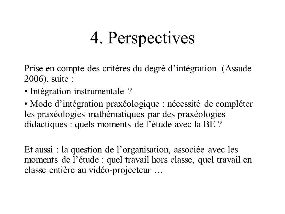 4. Perspectives Prise en compte des critères du degré dintégration (Assude 2006), suite : Intégration instrumentale ? Mode dintégration praxéologique