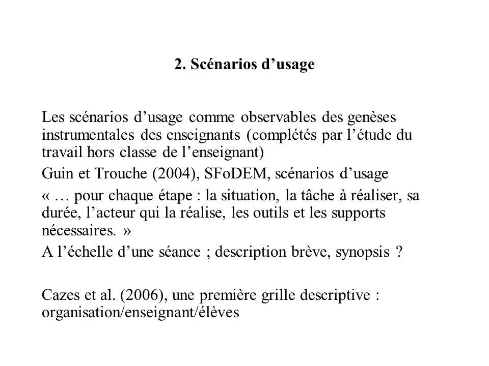 2. Scénarios dusage Les scénarios dusage comme observables des genèses instrumentales des enseignants (complétés par létude du travail hors classe de