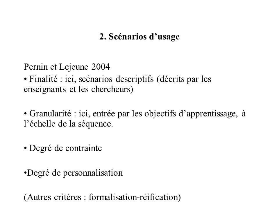 2. Scénarios dusage Pernin et Lejeune 2004 Finalité : ici, scénarios descriptifs (décrits par les enseignants et les chercheurs) Granularité : ici, en