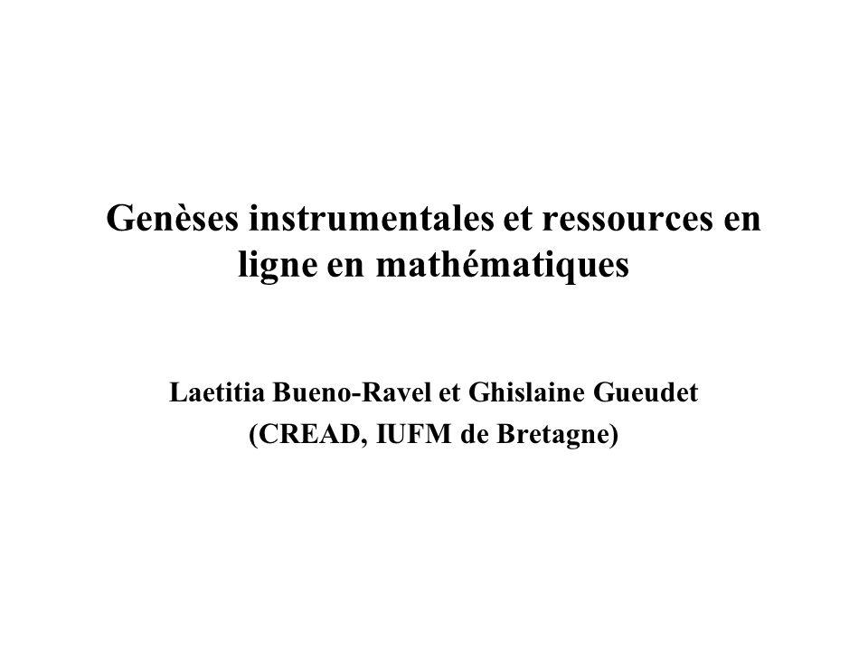 Genèses instrumentales et ressources en ligne en mathématiques Laetitia Bueno-Ravel et Ghislaine Gueudet (CREAD, IUFM de Bretagne)