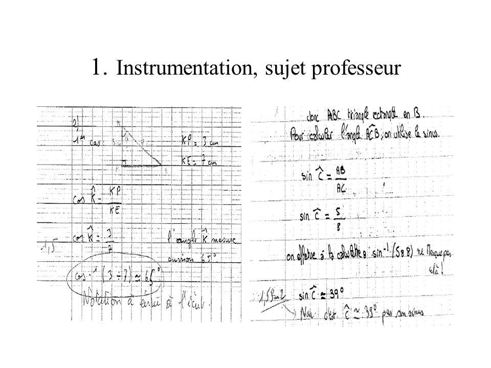 1. Instrumentation, sujet professeur