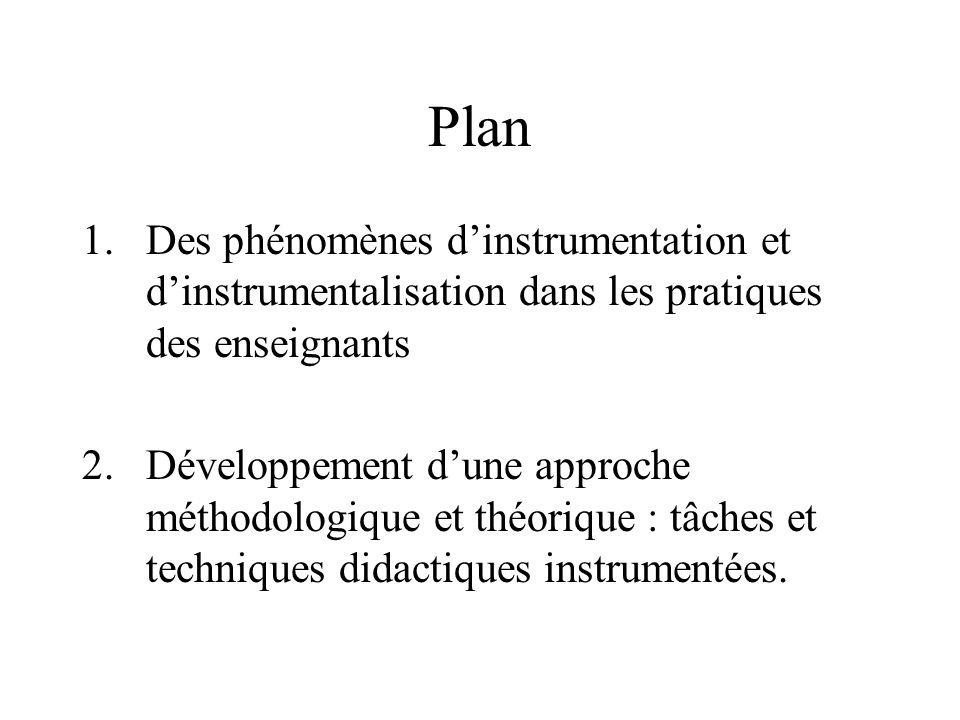 Plan 1.Des phénomènes dinstrumentation et dinstrumentalisation dans les pratiques des enseignants 2.Développement dune approche méthodologique et théorique : tâches et techniques didactiques instrumentées.
