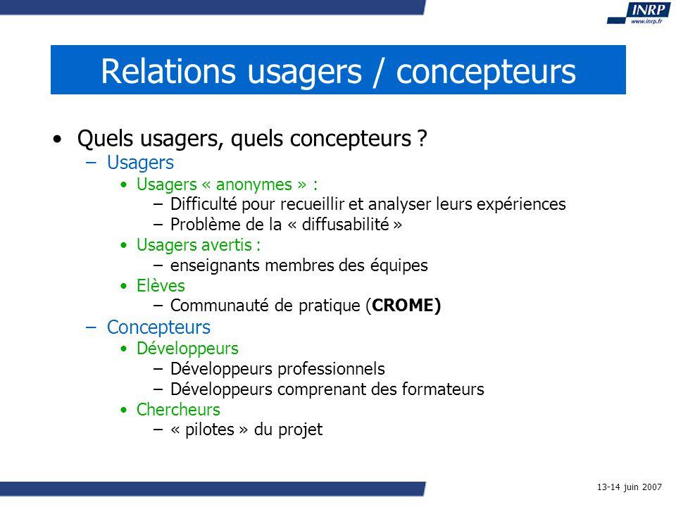 13-14 juin 2007 Relations usagers / concepteurs Quels usagers, quels concepteurs .