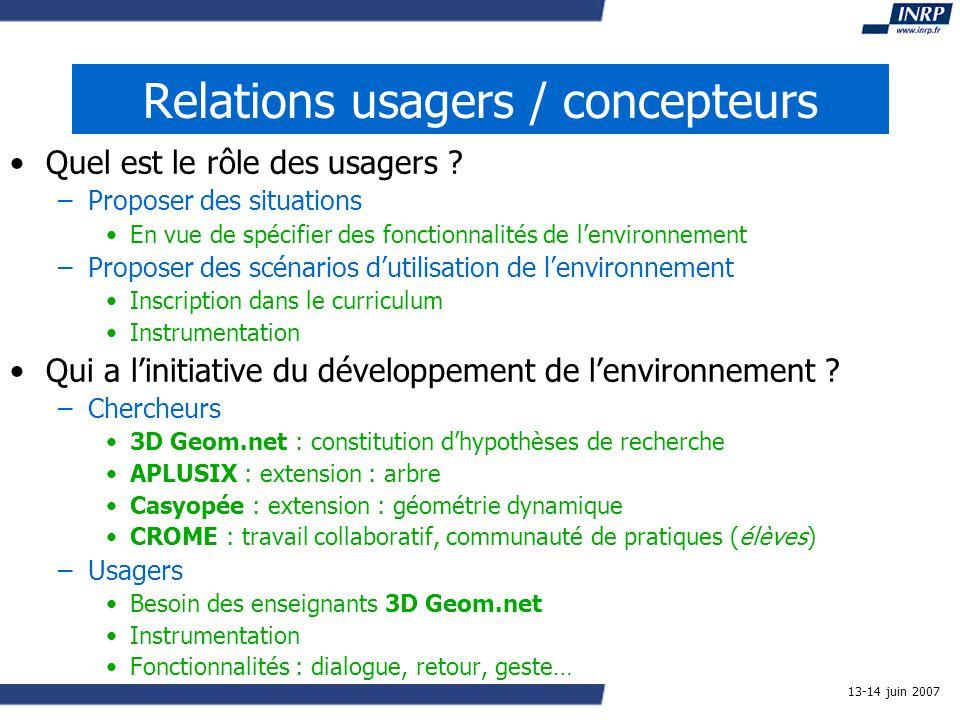 13-14 juin 2007 Relations usagers / concepteurs Quel est le rôle des usagers .