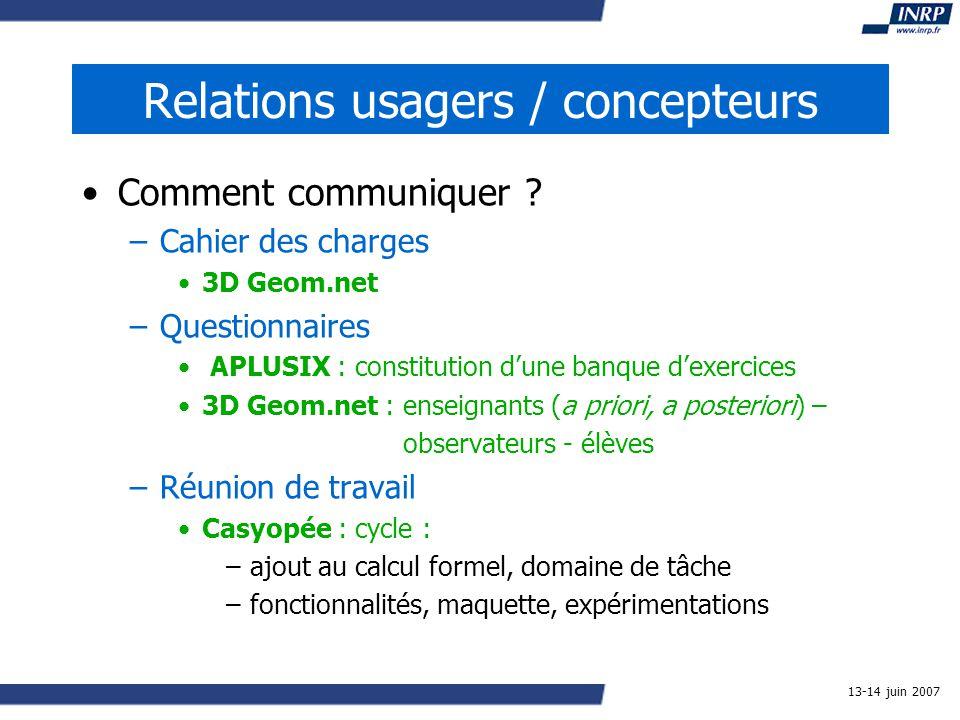13-14 juin 2007 Relations usagers / concepteurs Comment communiquer .