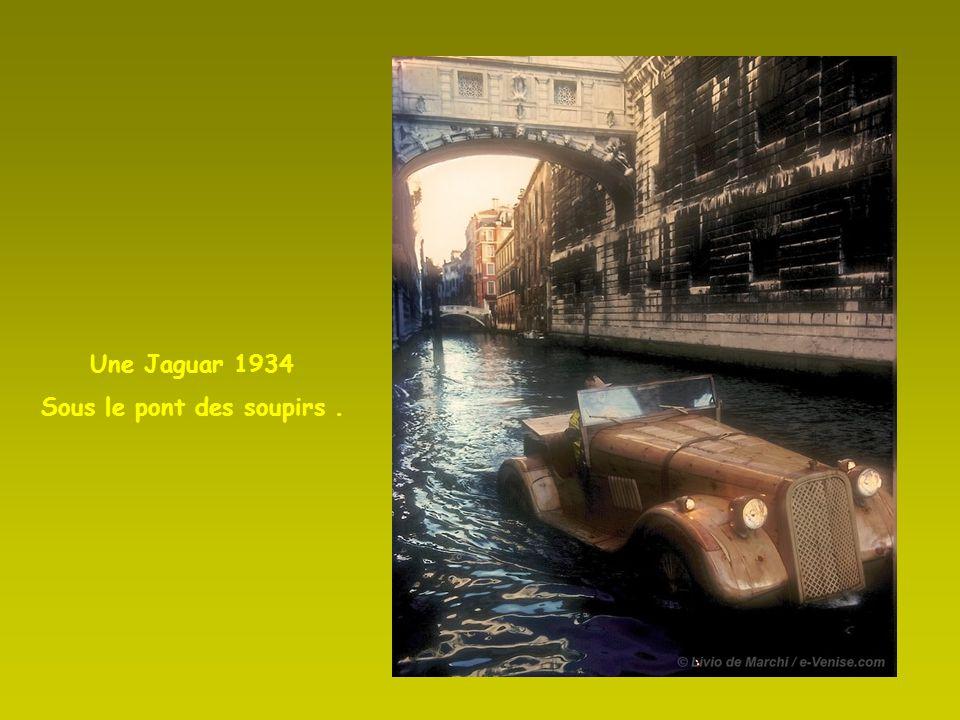 Une Jaguar SS 100 dans la lagune.