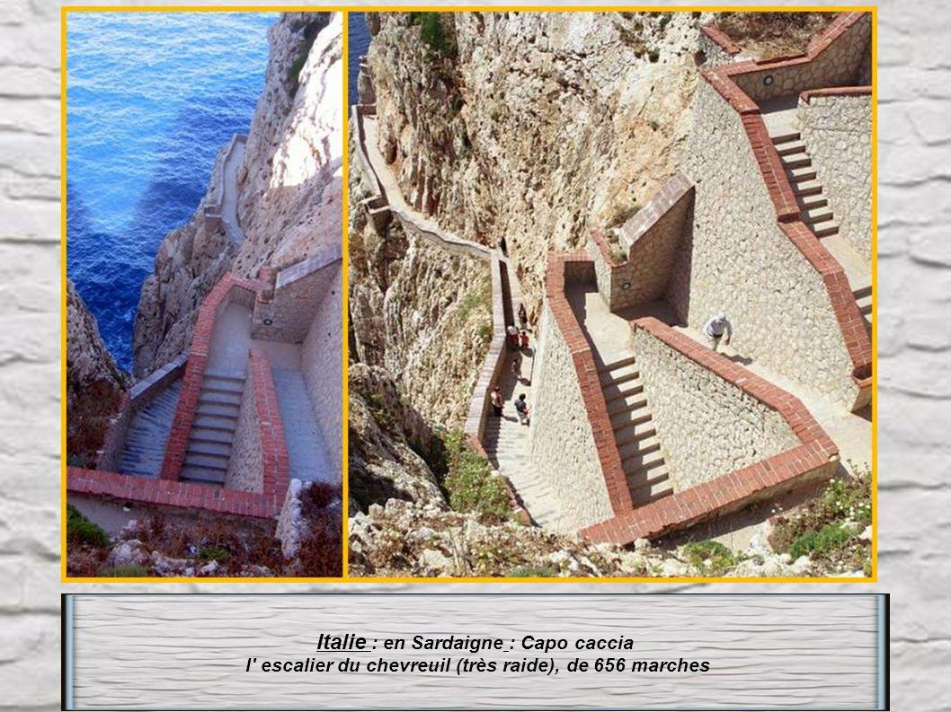 Royaume-Uni : Île St Hélène L escalier Jacob s ladder à Jamestown compte 699 marches avec un angle de montée de plus de 45°