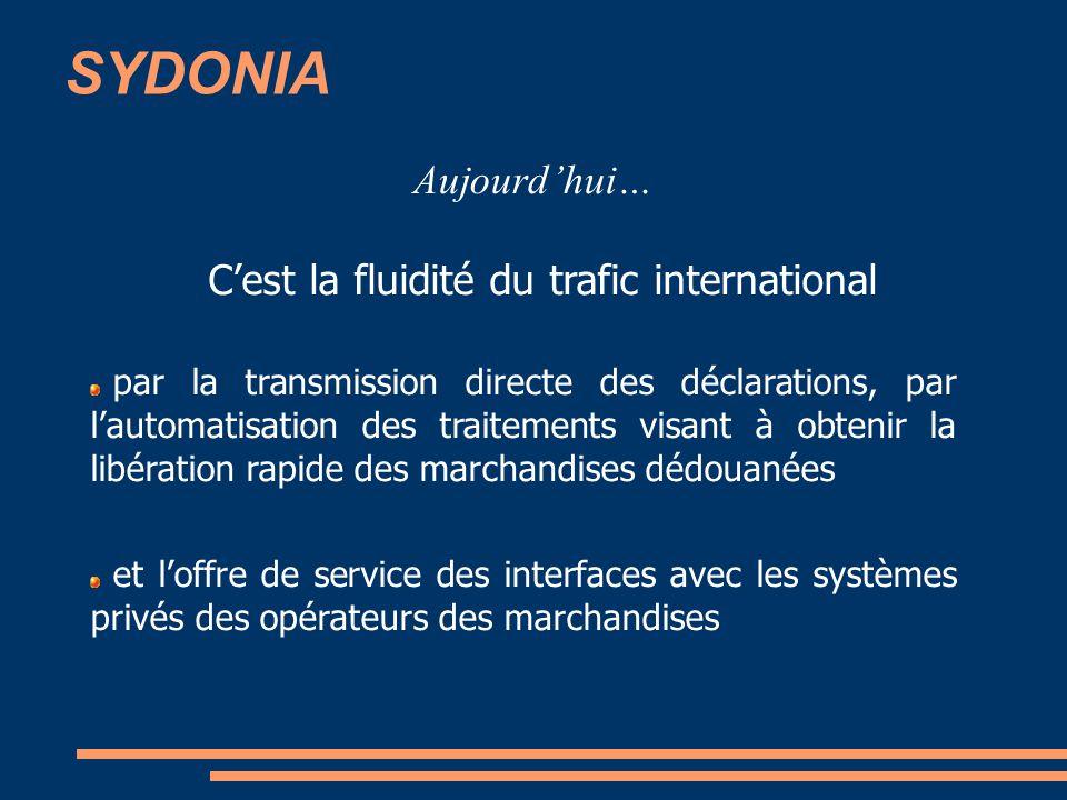 SYDONIA Aujourdhui… Cest la fluidité du trafic international par la transmission directe des déclarations, par lautomatisation des traitements visant