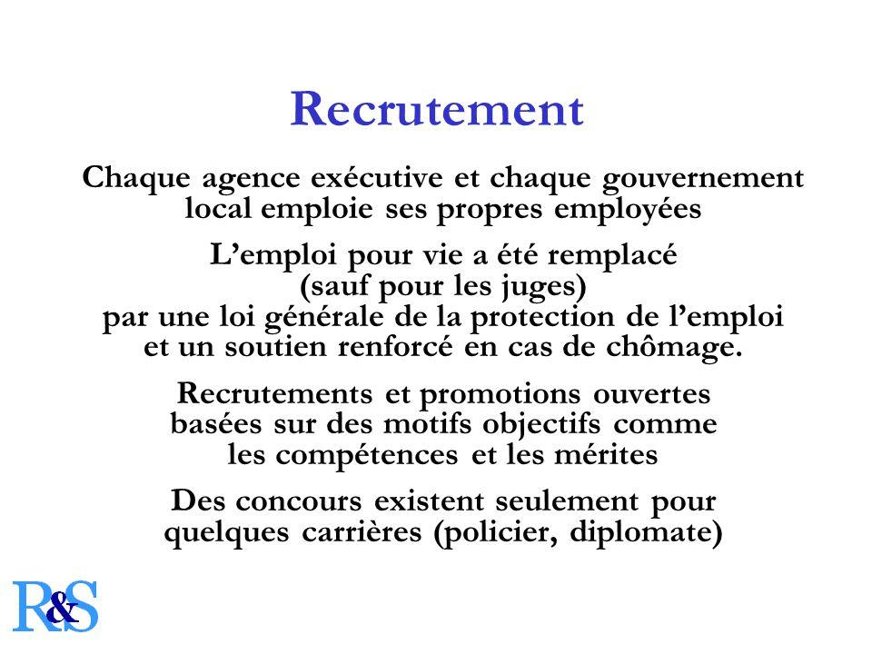 Recrutement Chaque agence exécutive et chaque gouvernement local emploie ses propres employées Lemploi pour vie a été remplacé (sauf pour les juges) par une loi générale de la protection de lemploi et un soutien renforcé en cas de chômage.
